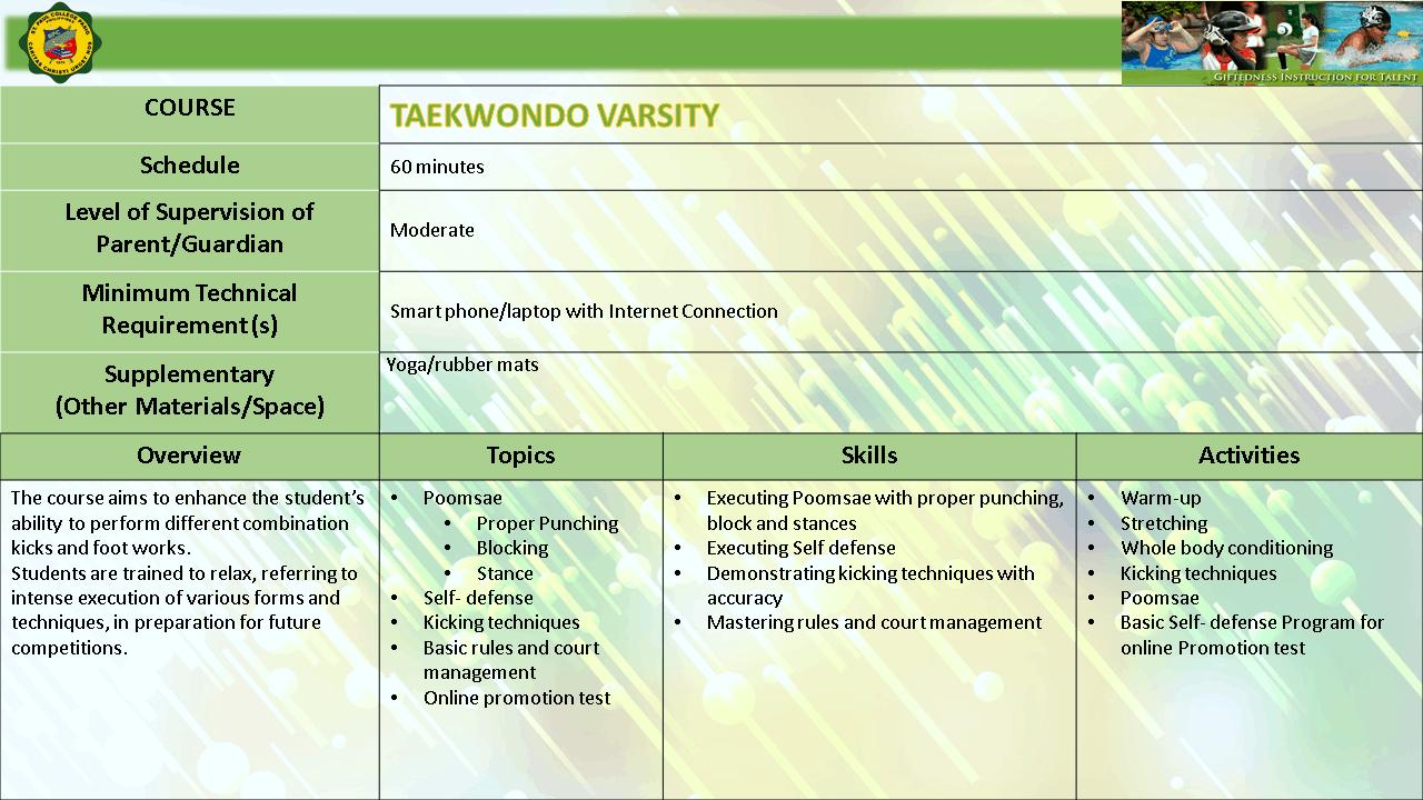 TAEKWONDO VARSITY